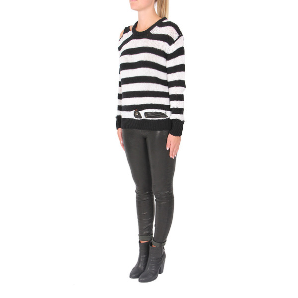 R13 Distressed Striped Cashmere Sweater