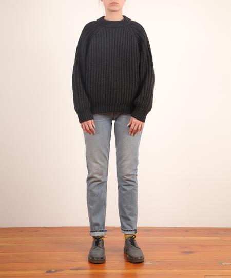 Micaela Greg Miter Rib Pullover - FADED BLACK