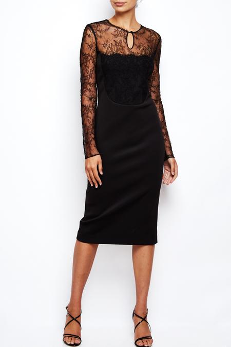AVH lace long sleeve midi dress - Black