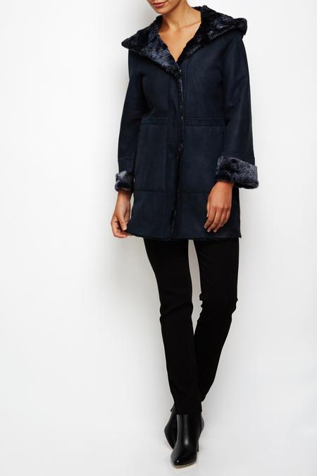 Drome shearling leather coat - deep blue