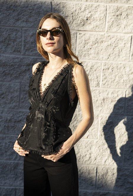 Ganni Kerly Silk Sleeveless Top - Black