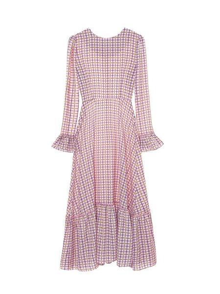 EVANLAFORET Maxi Long Check Pattern Dress - Pink