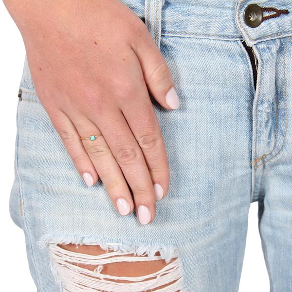Mociun Square Diamond and Turquoise Ring