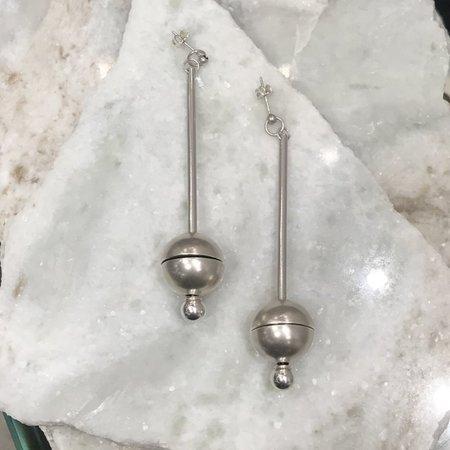 M33Ms Pendulum Earrings: Sterling Silver Split Spheres on Long Posts