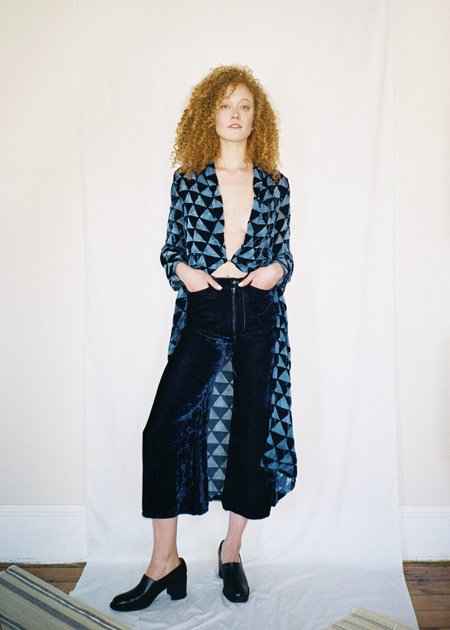 Colorant High Waisted Velvet Pants - Indigo