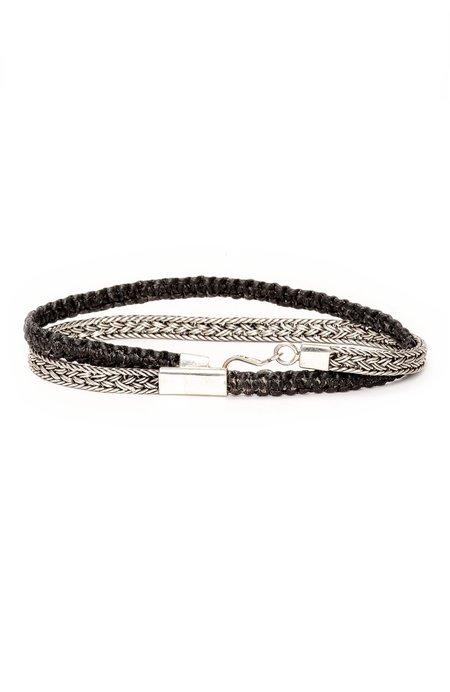 Caputo & Co Artisan Silver and Macrame Double Wrap Bracelet