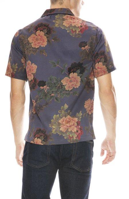 ZIRAN Camp Collar Shirt - Blue Flowers