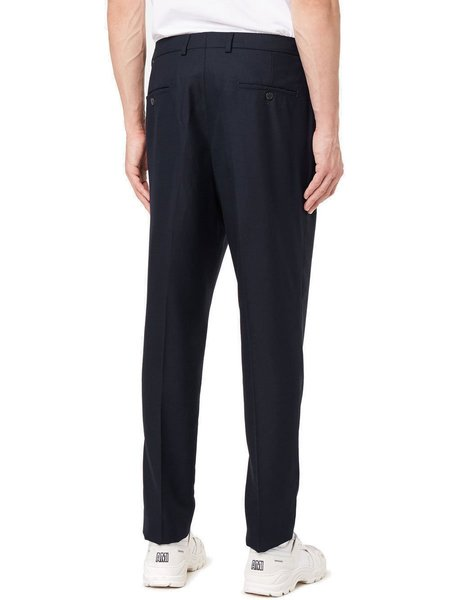 AMI Carrot Fit Textured Trousers - Navy