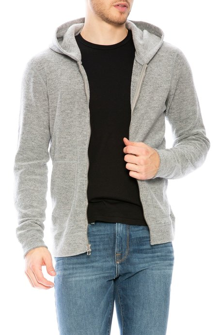 Wings + Horns Felted Wool Zip Hoodie - Heather Grey