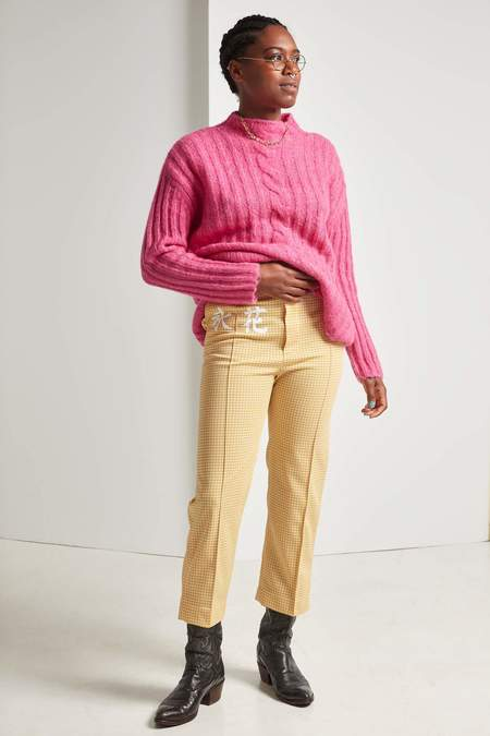 Michons Margot Polyester Houndstooth Pants - Yellow