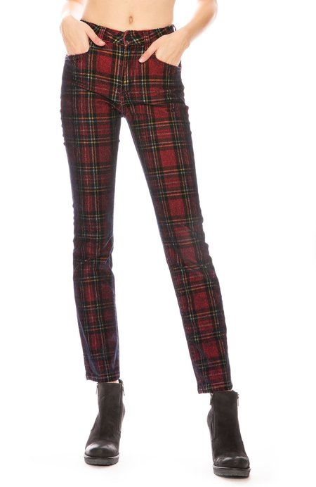 Acynetic Kelly Velvet Skinny Pant - Plaid