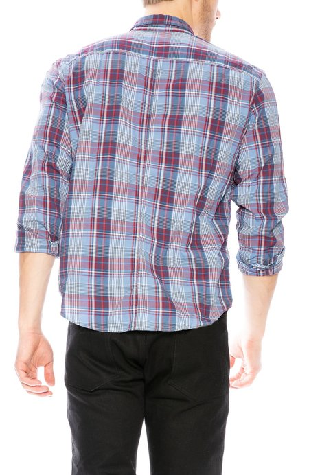 Frank & Eileen Luke Plaid Cotton Button Down Shirt - Blue/Red/White Plaid