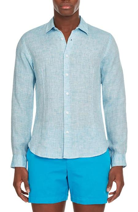 Orlebar Brown Morton Linen Shirt - Azure