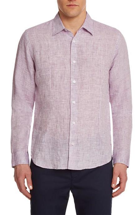 Orlebar Brown Morton Linen Tailored Shirt - ORCHID