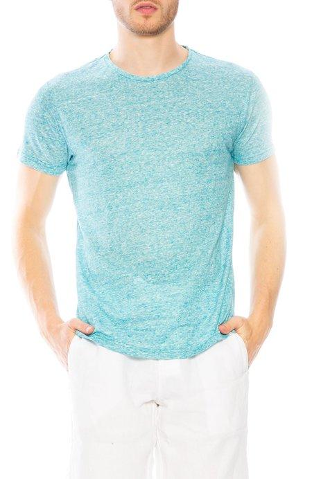 Orlebar Brown OB Linen Stripe Tee - Scuba Blue