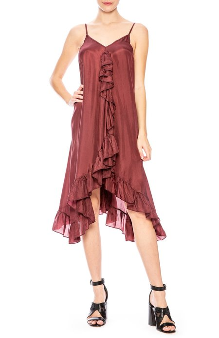 Mes Demoiselles Ruffle Front Cami Dress - Plum