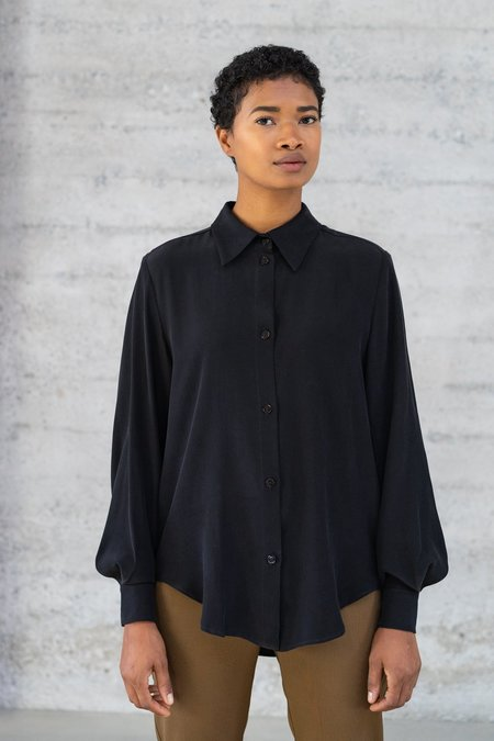 Waltz Button-Up Silk Blouse - Black