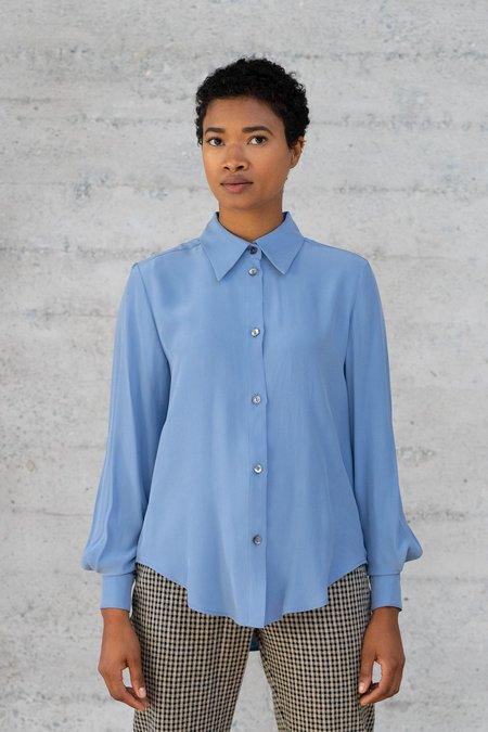 Waltz Button-Up Silk Blouse - Dusk Blue