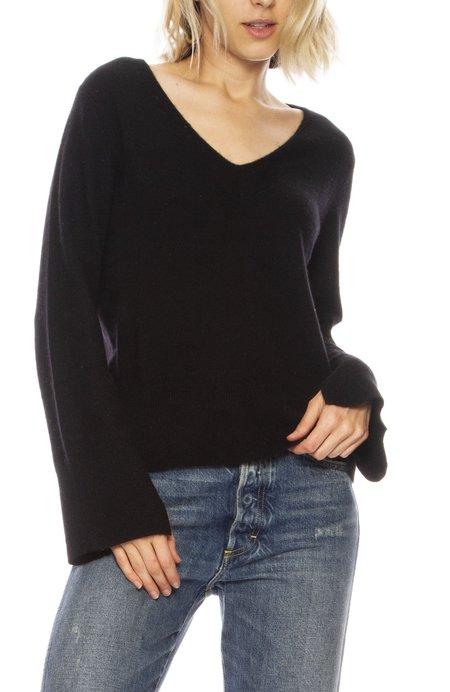 White + Warren Slit Sleeve Sweater - BLACK