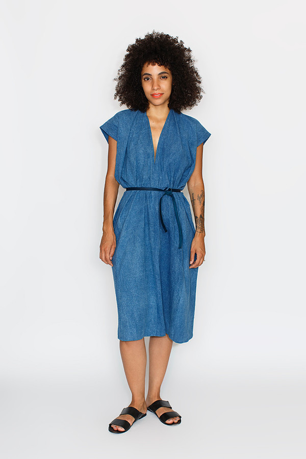 Black Friday Indigo Tempest Dress, Silk Noil