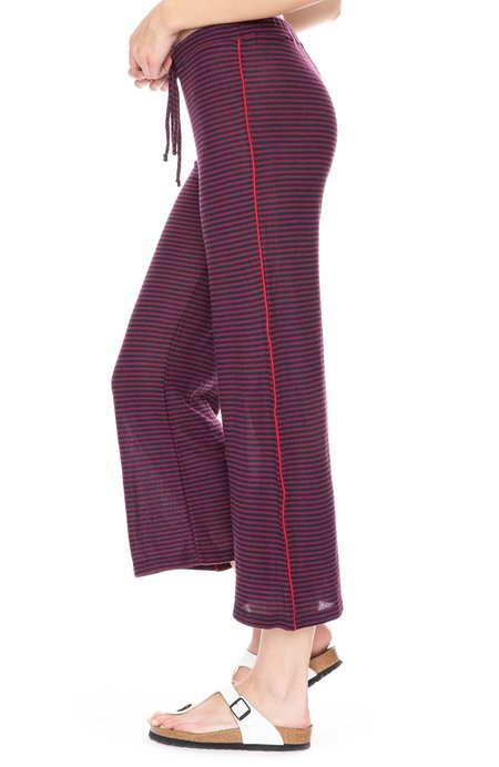 Sundry Sweater Knit Cropped Flared Sweatpants - Midnight/Wine Stripe