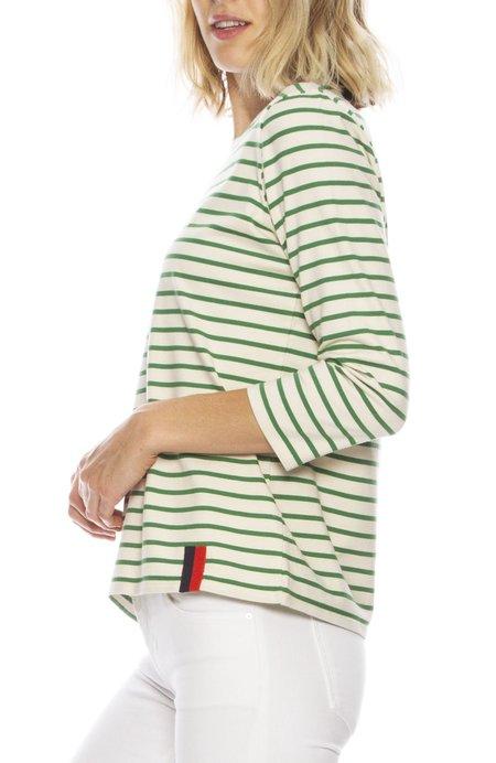 Kule The Classic 3/4 Sleeve Stripe Tee - CREAM/GREEN