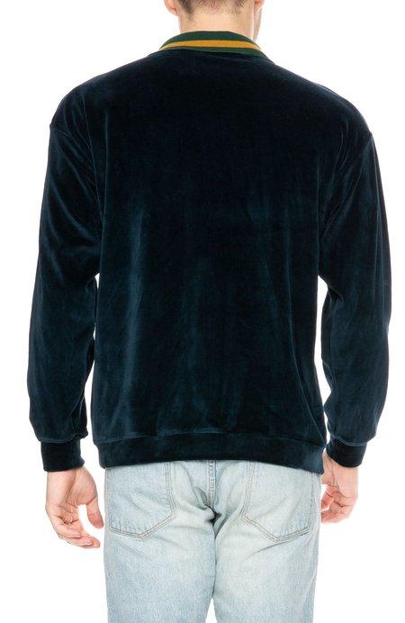 Freshjive Westlake Velour Polo Neck Pullover Sweatshirt - Navy