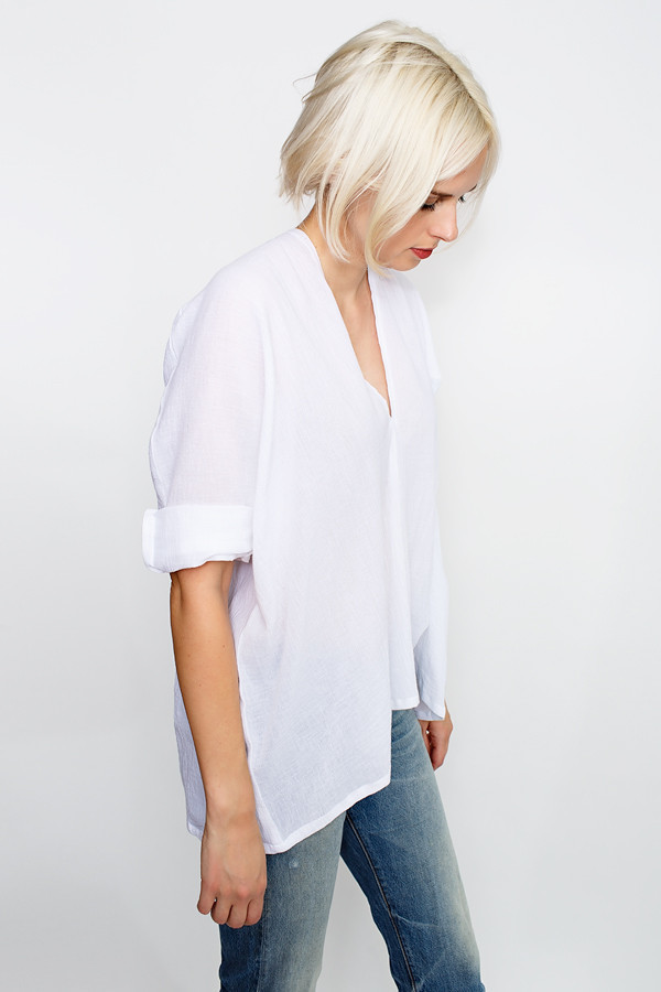 Miranda Bennett White Muse Top, Cotton Gauze