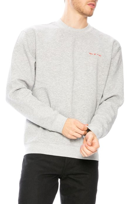 Yeah Right NYC You're Fine Embroidered Crew Neck Sweatshirt - Grey/Red