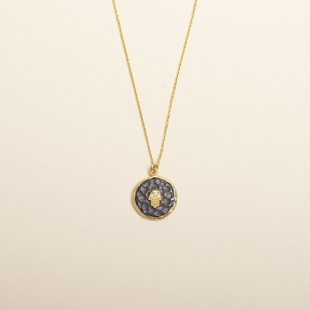 Ayla Hamsa Coin Necklace