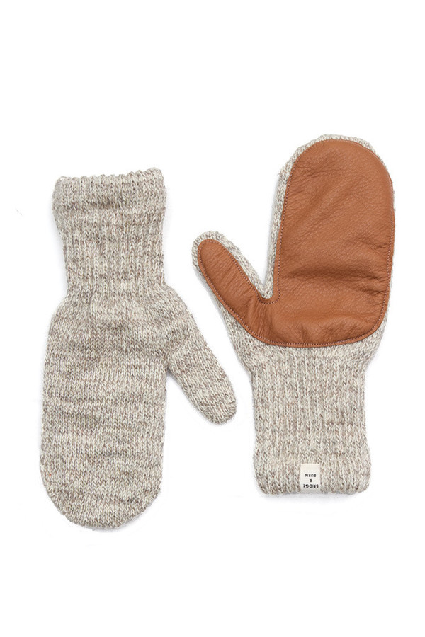 Bridge & Burn Lined Mitten Oatmeal Chestnut