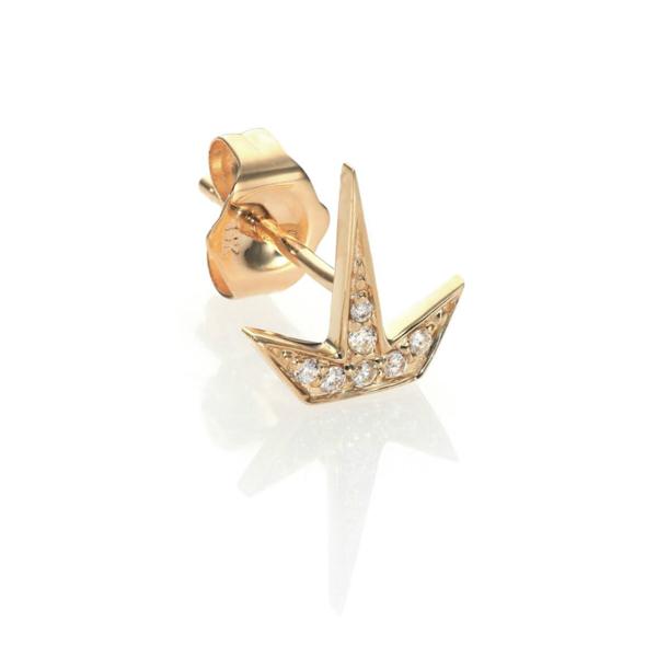 SYDNEY EVAN YELLOW-GOLD + DIAMOND HALF STARBURST SINGLE STUD EARRING