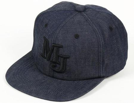 Momotaro Jeans Denim Snapback Black Stitching Cap - Blue