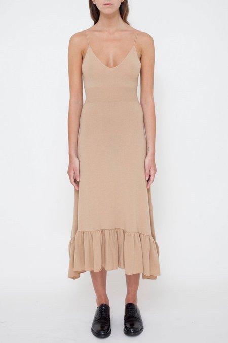 Ryan Roche Fully Fashioned Top Bottom Ruffle Dress - Buff