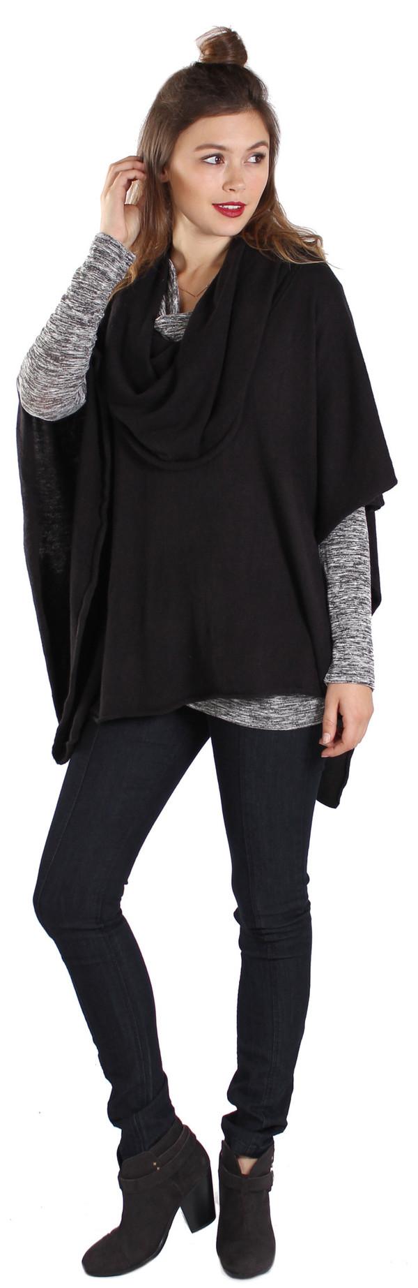 Cowl Poncho in Black