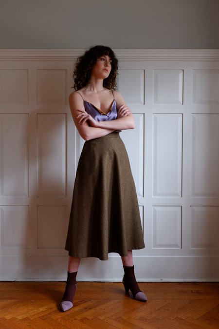 Chistine Alcalay Wool tweed A-line Bias Skirt