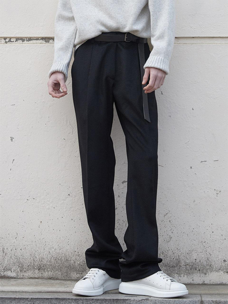 HALEINE Cashmere Effect Semi Wide Fit Slacks - Black