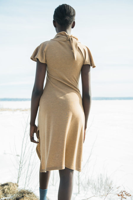 Urbanovitch Cowl Tie Neck Dress - Acorn