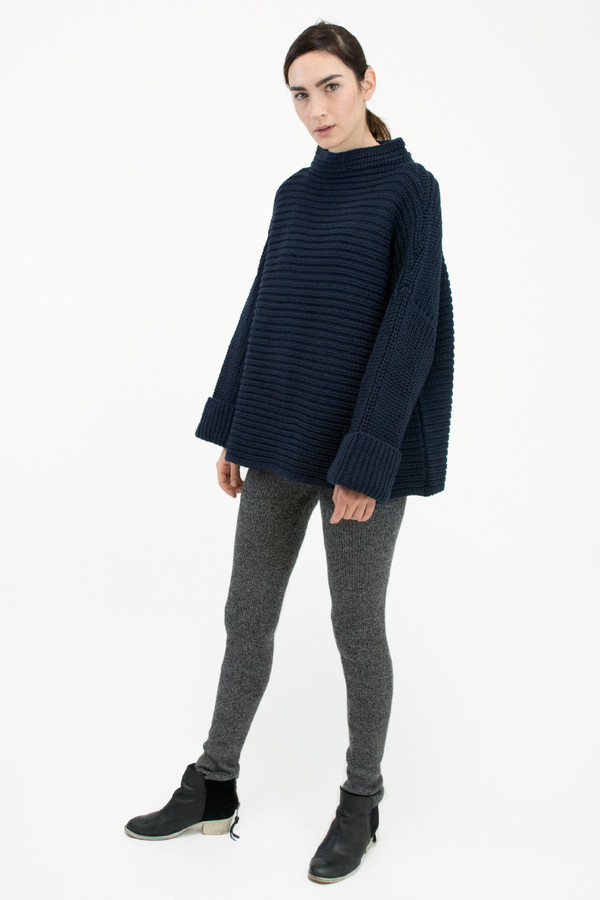 Micaela Greg Blue Black Parallel Sweater