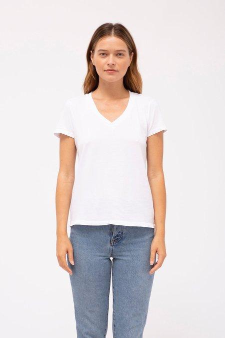 Stateside Brushed Jersey Short Sleeve V-Neck - WHITE