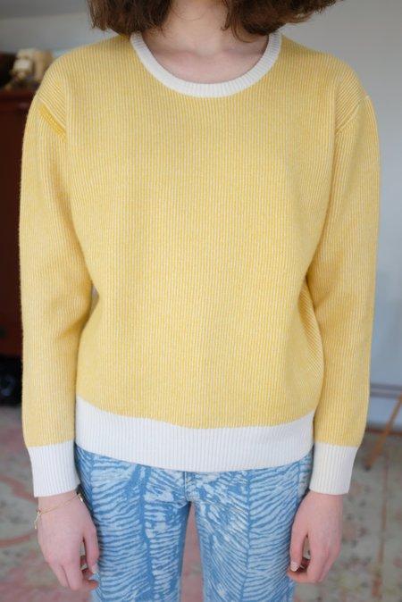 Beklina Cashmere Ribbed Crew Sweater Daisy/Ivory