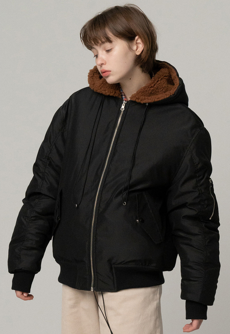 ROCKET X LUNCH REVERSIBLE Eco Sheep fur Bomber JACKET - BLACK/BROWN