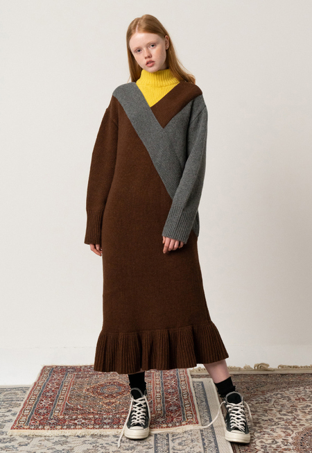 ROCKET X LUNCH Y rip KNIT DRESS - BROWN