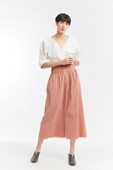 Miranda Bennett Studio Crinkle Cotton Paper Bag Skirt - Porto