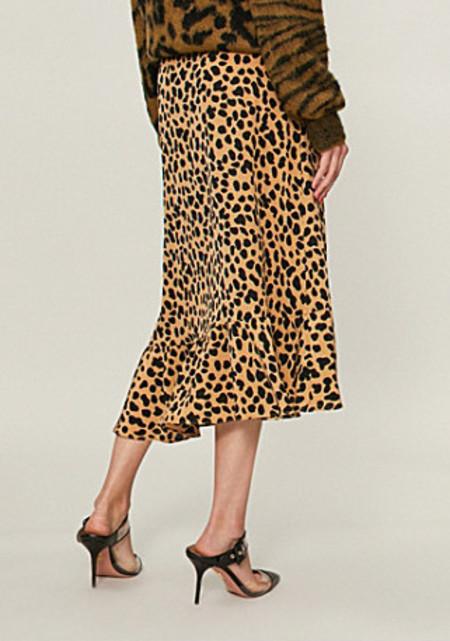 RIXO LONDON silk ruffle skirt - leopard print