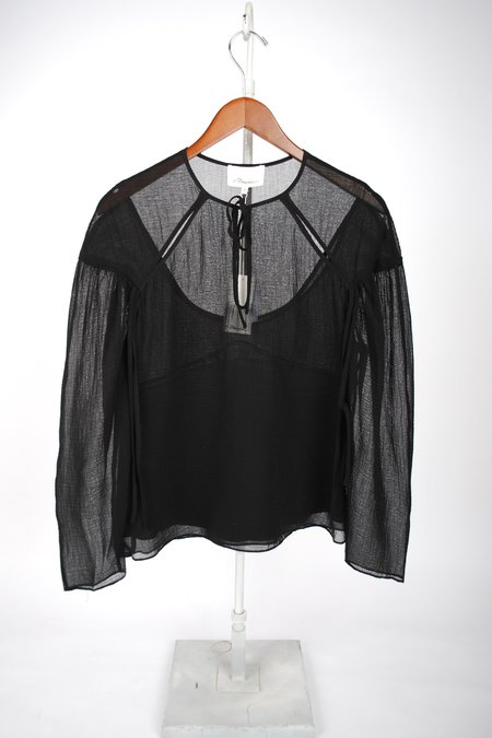 3.1 Phillip Lim Textured Silk Blouse with Overlay - Black