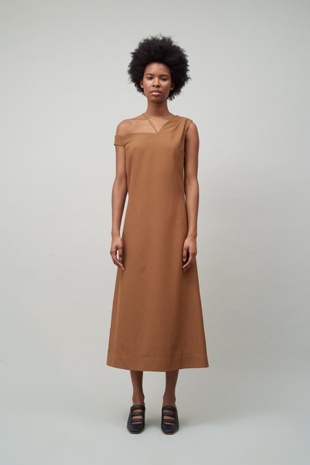 Nomia Asymmetric Off Shoulder Dress - Copper