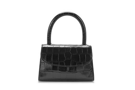 BY FAR Mini Embossed Leather bag - Black Croco