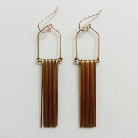 Hellbent Narrow Angular Fringe Earrings - Brass