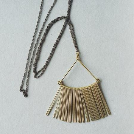 Hellbent Triangle Fringe Necklace - Brass